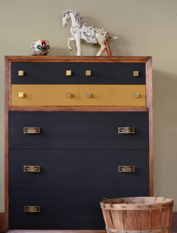 A mid-century dresser painted for a custom client with interesting brass hardware. From Queen Patina. Click through to read the whole story!